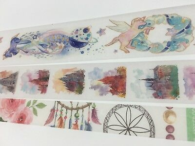 Fantasy Washi tape Wide Fat tape Castle Unicorn Dreamcatcher Flowers