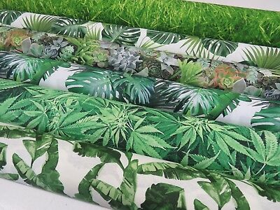 DIGITAL Designer TROPICAL Palm Tree Leaf Green Cotton Curtain Fabric Upholstery ()