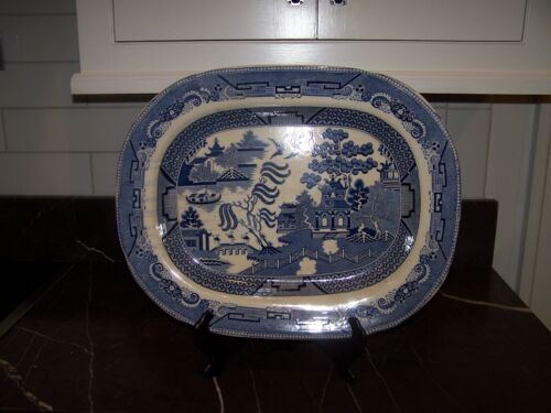 LARGE BLUE WILLOW PLATTER