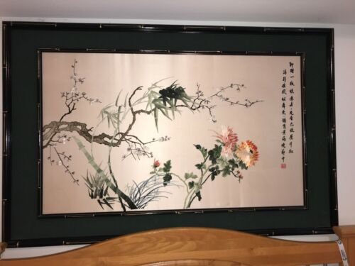 1980 Traditional Chinese Silk Embroidery of the Four Seasons, Framed Under Glass
