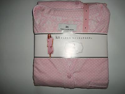 KAREN NEUBURGER 2 pc Pink Dot PAJAMAS SET Capris Pants & Top Womens SMALL NEW