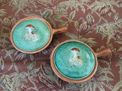 Vintage Belgium Tellurite Mushroom Soup Bowls, Set of 2 w/lids, Green Basket
