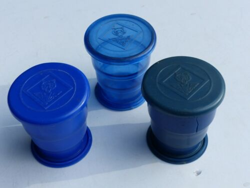 3 Used Vintage Cub Scout Blue Plastic Collapsible Drinking Cups Boy Scout BSA