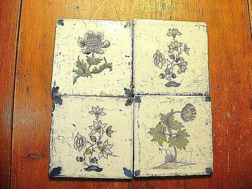 4 Antique 17ThC Delft Botanical Floral Polychrome Tiles