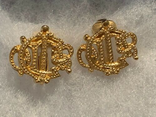 Christian Dior Signature Monogram Earrings Gold plated