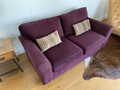 Next sofa bed 2 seater. Hardly Used, In Plum Velour. Mattress Never Used.
