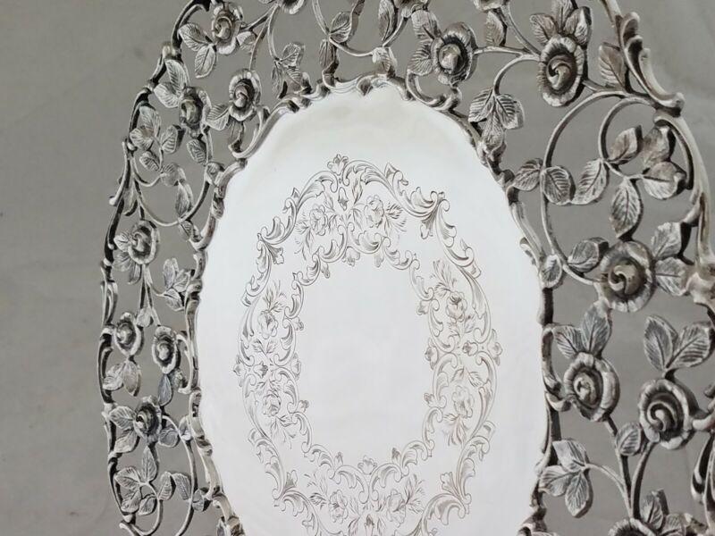 Fabulous Sterling Roger Williams Large Dessert Dish pierced floral leaf 21.87ozt