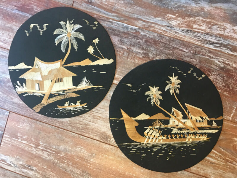"Southeast Asian Straw Art Picture Night Scenes A Set Two 12"" Round Not Framed"