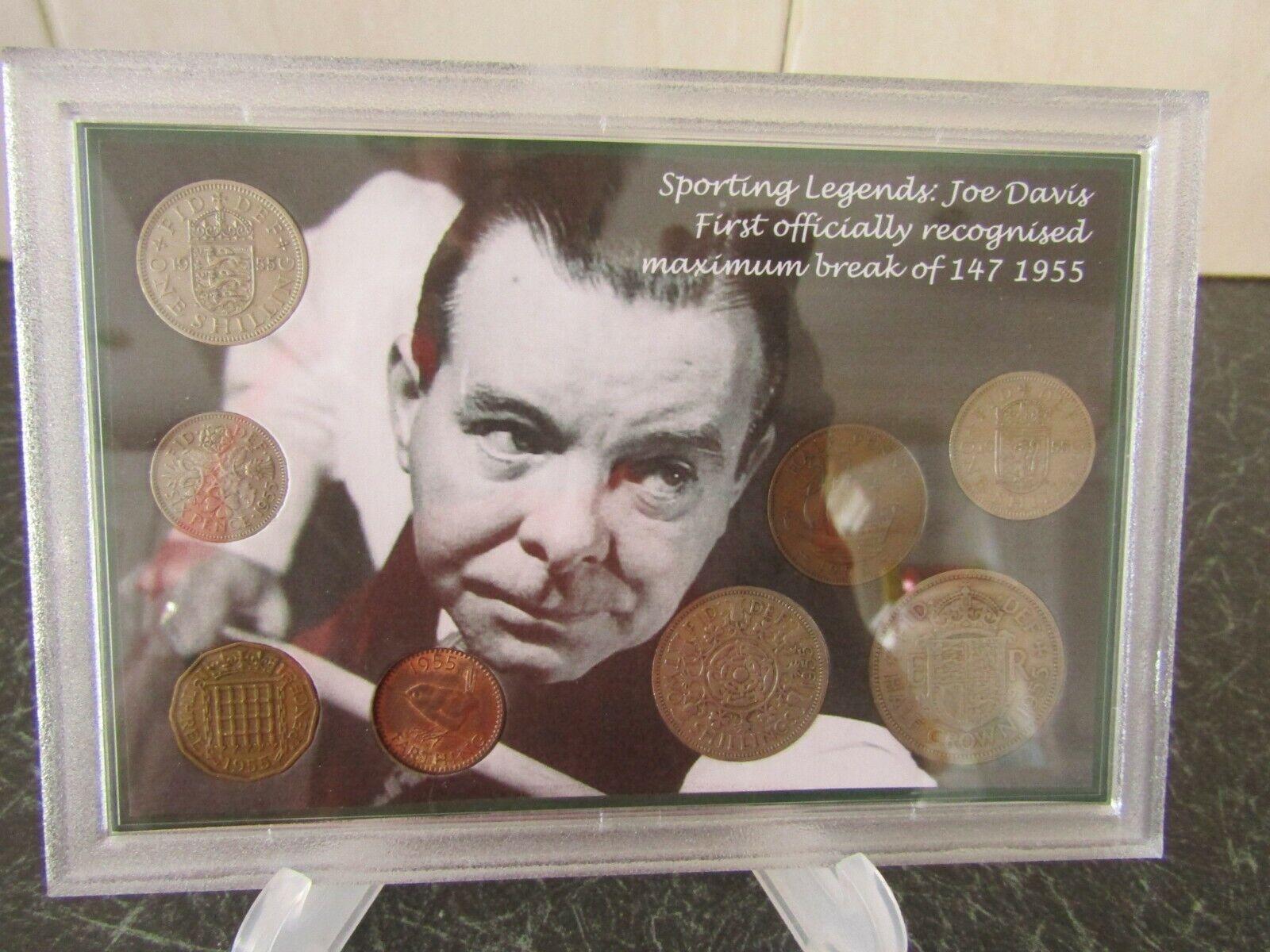 Snooker Legends JOE DAVIS First maximum (147) break 1955  COIN GIFT SET  NEW