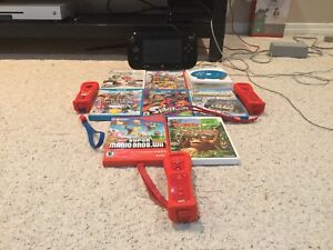 Wii-U 32-GB Mint Condition 4 Controllers 8 Games All Accessories