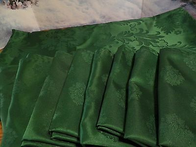 "CHRISTMAS GREEN DAMASK TABLECLOTH 82"" x 58"" & 8 MATCHING NAPKINS WRINKLE FREE"
