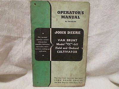 "Vintage John Deere Operator's Manual Van Brunt Model ""CC""-147 Cultivator"