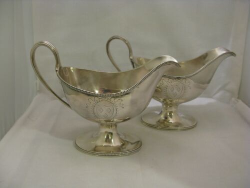 PR. ANTIQUE ENGLISH STERLING SILVER SAUCE BOATS by THOMAS DANIELL, LONDON, 1785