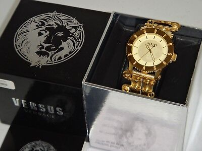 VERSACE VERSUS Yellow Gold Stainless Steel Watch S2205 0016 Gold Leather Strap