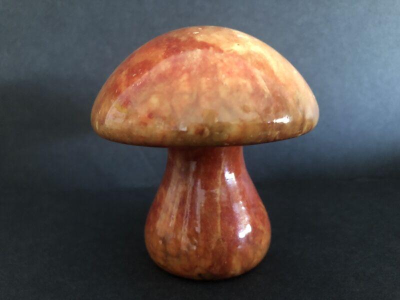 """Vintage Italian Alabaster MUSHROOM Orange 3.5"""""""