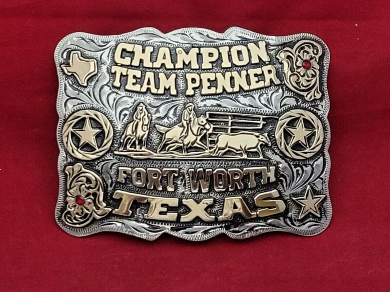 TEAM PENNING CHAMPION RODEO TROPHY BELT BUCKLE☆FORT WORTH TEXAS ☆RARE☆-807