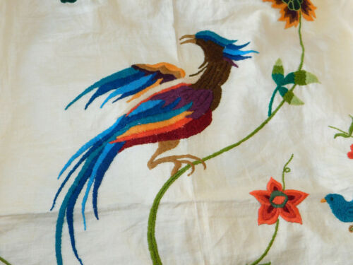 Vintage Hand Embroidered JACOBEAN PHEASANT Floral Crewel Bedspread Coverlet QUEE