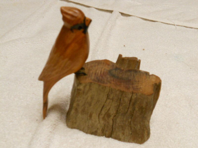 Hand Carved wooden Cardinal signed John Cowden