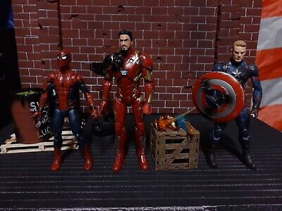 Hasbro Marvel Legends Civil War 3 Pack Captain America Iron Man Spiderman. Loose