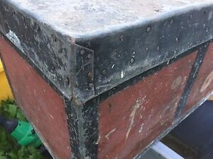 Antique tin covered tool box/trunk