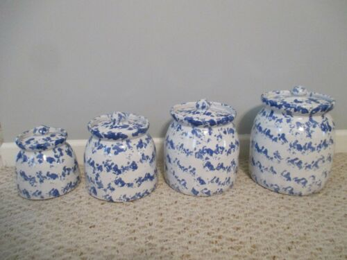 Bybee Pottery Blue & White Spongeware 8 pc Canister Set  Kentucky RARE SET!