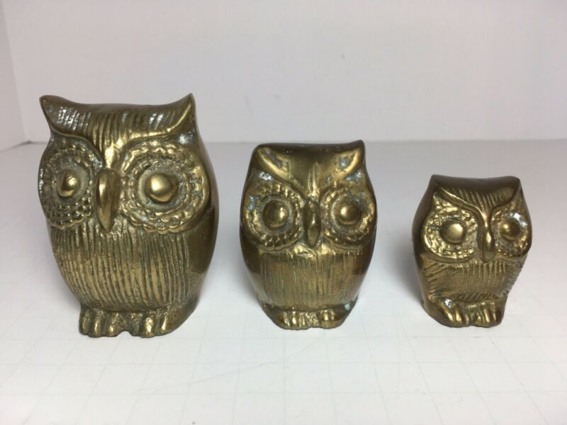 Set Of 3 Vintage Brass Owls Figurines Statue Home Decor