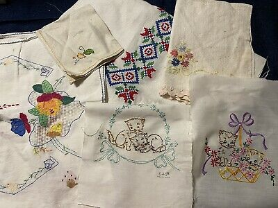 Vintage Lot 11 Pc Hand Embroidered Linens, Towels, runners, table cloth, quilt bloc