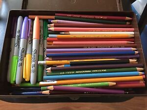 Prismacolor pencils and Sharpies