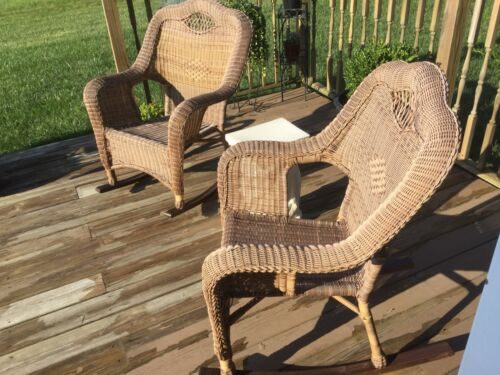 Garden Furniture - Outdoor Wicker Rocking Chair Cushion Rocker Seat Porch Garden Patio Furniture