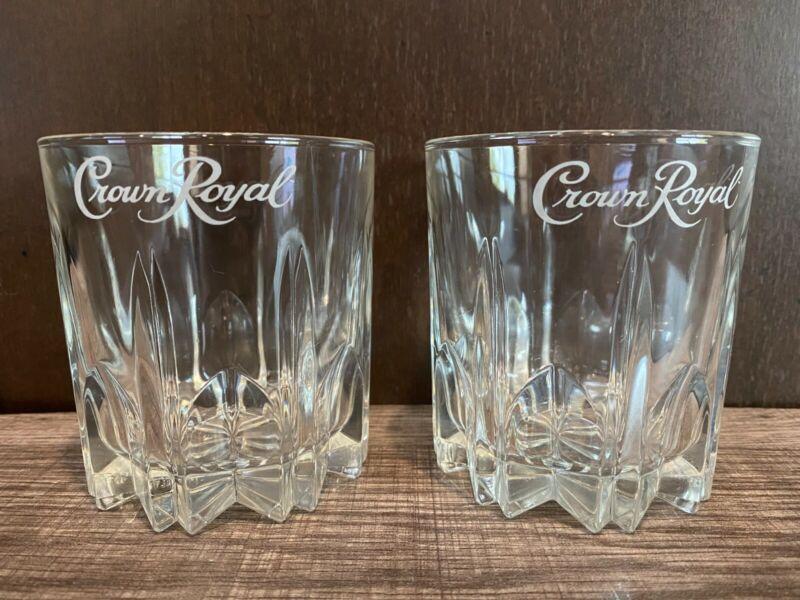 Crown Royal Glasses Canadian Whiskey Crystal Starburst Base set of 2
