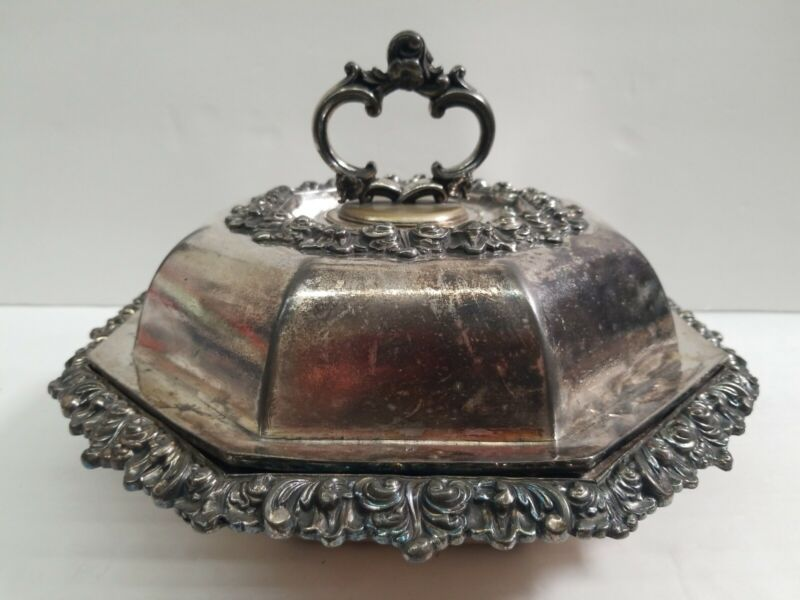 Vintage Octagon Silver Plated Food Serving Tray w/cover Entree Dish