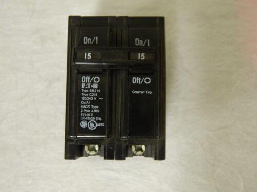 Eaton Circuit Breaker 15 Amp 120/240 VAC 2 Pole Plug In Type BR BR215