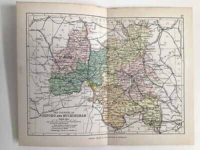 OXFORD Buckingham 1886 Antique County Map Philip Railways Parliamentary Boroughs