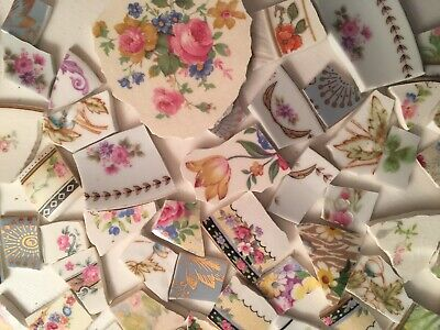 Broken China Mosaic Tile: Two Pounds Of Roses Flowers,chintz