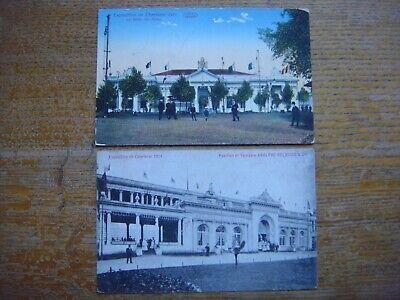 Lot 2 cartes de Exposition de CHARLEROI 1911 (Salle des Fêtes/Pavillon Delhaize)