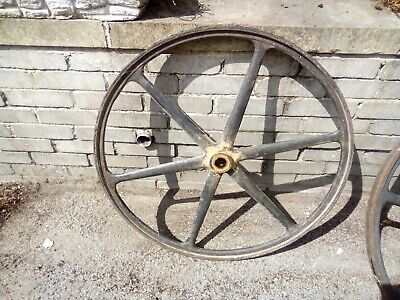 """2 VINTAGE CAST IRON  WHEELS 30"""" DIA  USE OR DISPLAY 1 NEEDS REPAIR PROJECT"""
