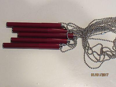 Red Mini Pen - LOT OF 5 METAL MAGNETIC NURSE PEN CHAIN BALLPOINT MINI PEN-RED-4