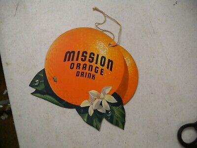 MISSION ORANGE SODA Light Fan PULL Advertising Sign Original VINTAGE Double-side