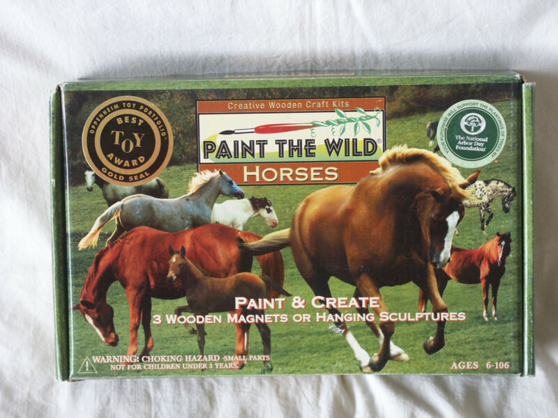 Paint the Wild Horses Kit 1997 Balitono 3 Hand Carved Wooden Horses to Paint