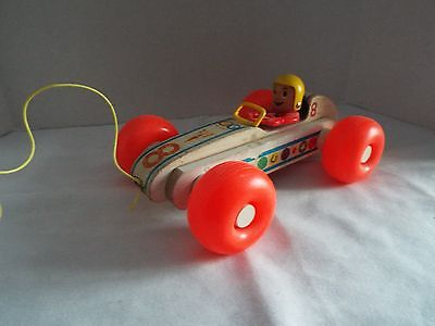 Vintage Fisher Price Bouncy Racer Pull Toy Car - 1960's - Wood