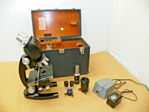 Vintage Bausch & Lomb Microscope PD2188  with Attachments and Storage Case