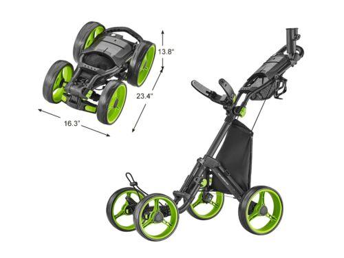 CaddyTek SuperLite Deluxe 4 Wheel Golf Push Cart Version 8,The Explorer V8,LIME