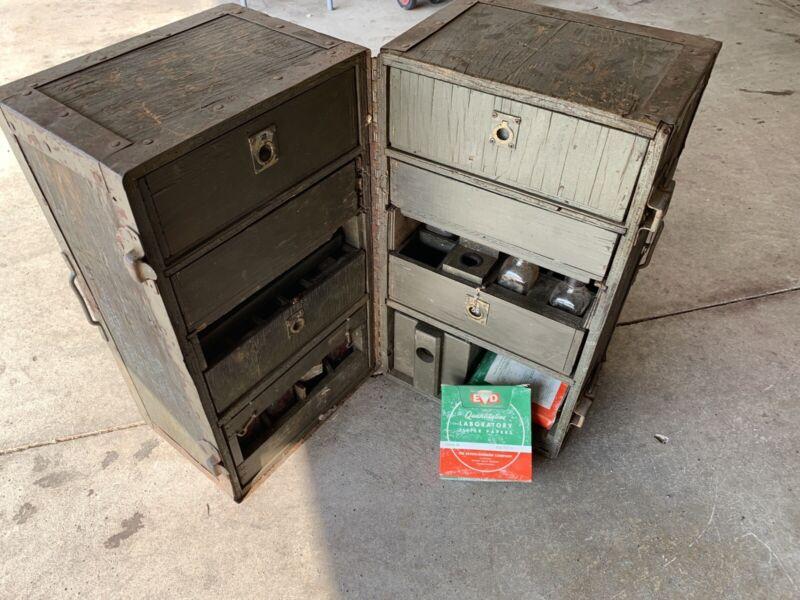 Vintage U.S. Wooden Military Army Medicine  Storage Chest Trunk