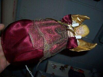 "9"" Christmas Angel Tree Topper maroon dress light up angel"