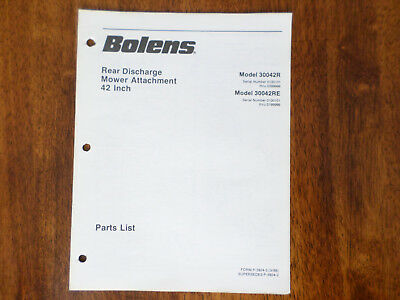 Bolens Rear Discharge Mower Attachment 42 Inch Parts List Model 30042R 30042RE 42' Rear Discharge Mower