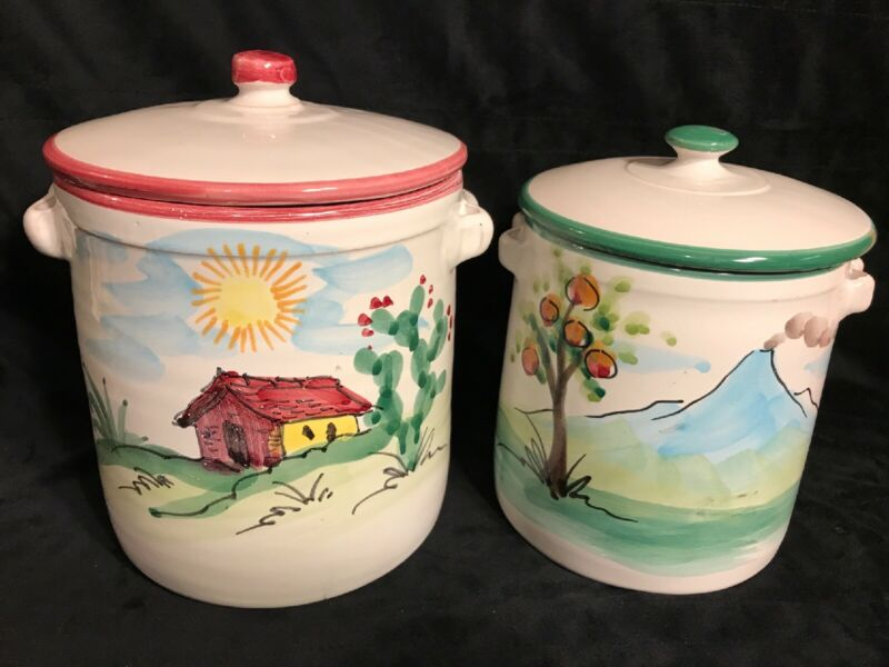 Hand Painted Canisters - Cookie Sugar Jar - Made In Italy