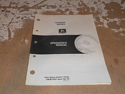 Gallon Sprayer (John Deere 15 Gallon Sprayer Operator's Manual OM-M77684)