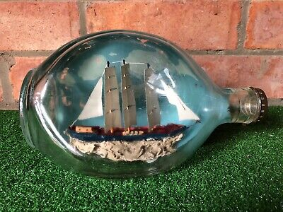 Vintage Ship In A Bottle Haig's Dimple Whisky Bottle, Nautical Ship Sea