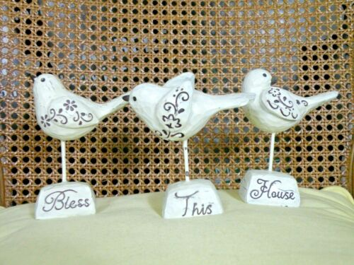 """""""Bless This House"""" Resin Birds Shabby Rustic set of 3"""