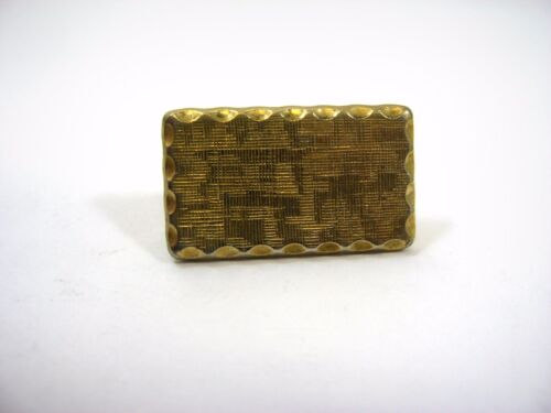 Vintage Tie Bar Clip: Small Textured Gold Tone Rectangle Great Border Design